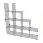 Glaswürfelsystem mit 10 Fächern