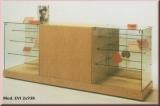 Thekenanlage mit Glasvitrinen, L. 252 cm