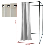 Vorhang mit Rundösen für Umkleidekabine, weiß gebleicht