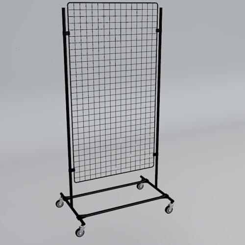 Gitterwand auf Rollen 150 x 80 cm schwarz