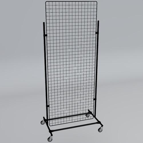 Gitterwand auf Rollen 200 x 80 cm schwarz