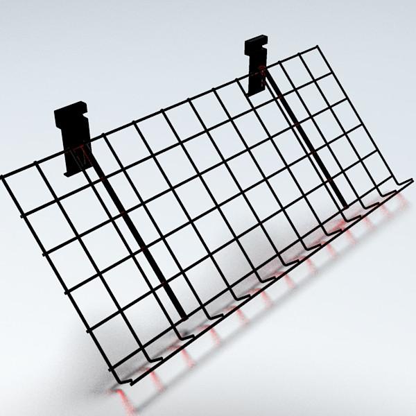 Gitterablage schräg, schwarz - 60 x 30 cm, 3 cm Rand