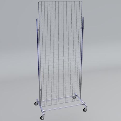 Gitterwand auf Rollen 200 x 80 cm chrom
