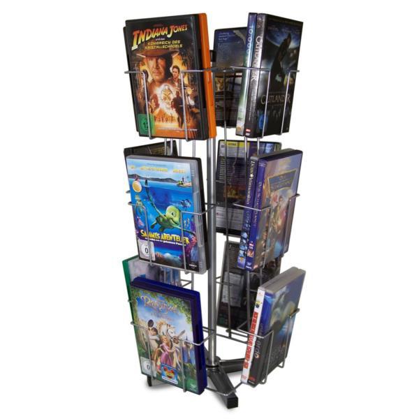 DVD / CD - Theken-Drehständer mit 12 Fächern