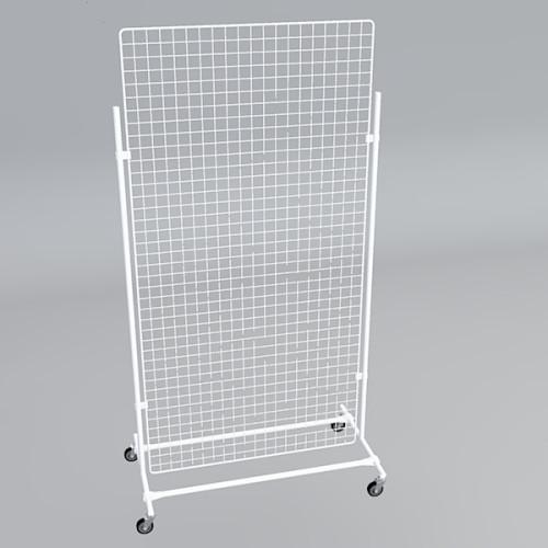Gitterwand auf Rollen 200 x 100 cm weiß
