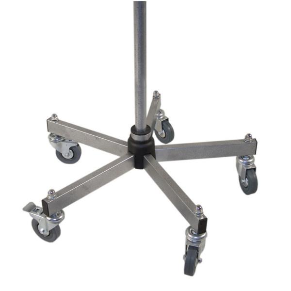 Stabiler Fuß mit Schwerlastrollen für Grundständer, ohne Rohr