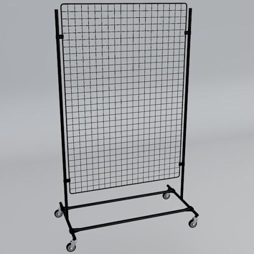 Gitterwand auf Rollen 150 x 100 cm schwarz