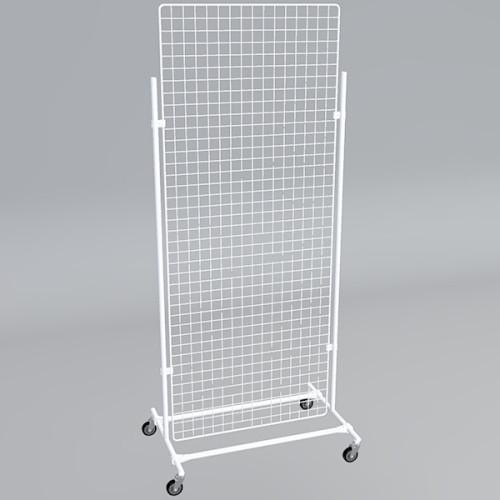 Gitterwand auf Rollen 200 x 80 cm weiß