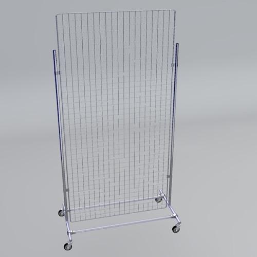 Gitterwand auf Rollen 200 x 100 cm chrom