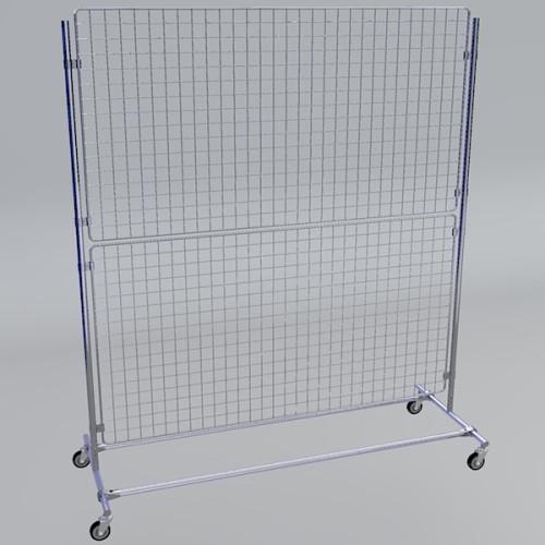 Gitterwand auf Rollen 160 x 180 cm in chrom