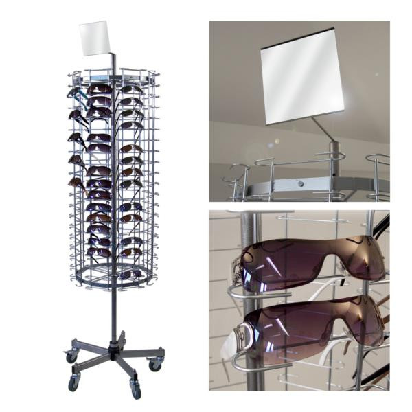 Brillenständer für 160 Brillen, dreh- und fahrbar
