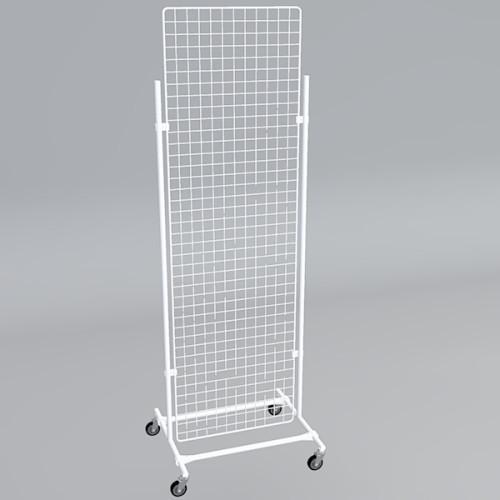 Gitterwand auf Rollen 200 x 60 cm weiß
