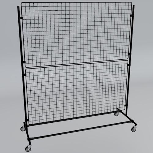 Gitterwand auf Rollen 160 x 180 cm in schwarz