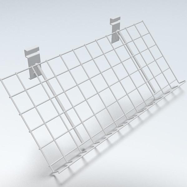 Gitterablage schräg, weiß - 60 x 30 cm, 3 cm Rand