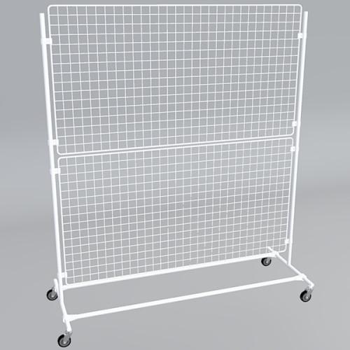 Gitterwand auf Rollen 160 x 180 cm in weiß