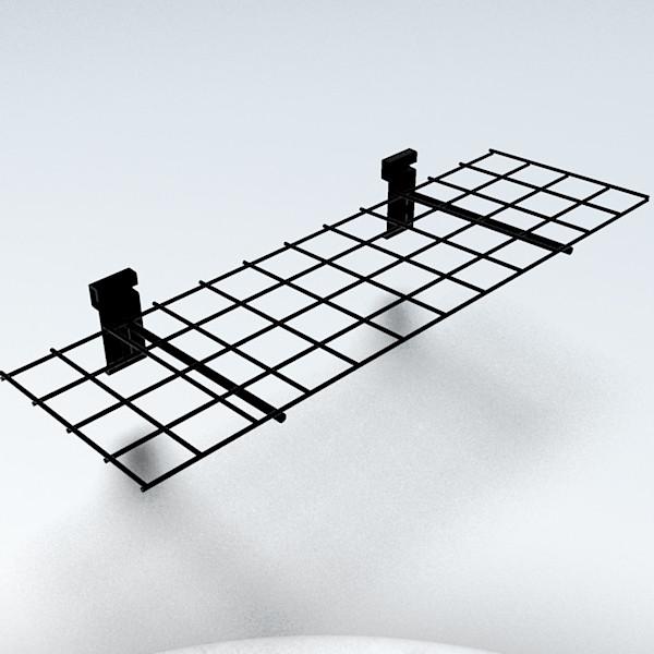 Gitterablage gerade, schwarz - 60 x 21 cm